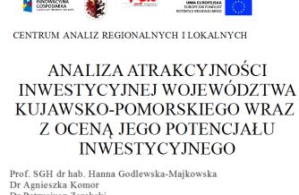 Ukończenie analizy atrakcyjności inwestycyjnej Województwa Kujawsko-Pomorskiego